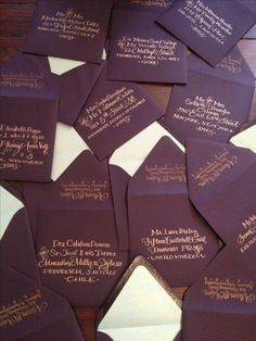 Autumn wedding invitations are enclosed in rich plum envelopes with hand-calligraphy in warm copper ink... {www.CalligraphyBoston.com}