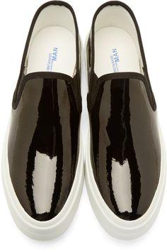 Junya Watanabe Black Patent Slip-On Sneakers