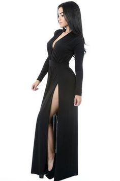 Robes Jersey Maxi Noir Super Chic V Profond Double Fendu