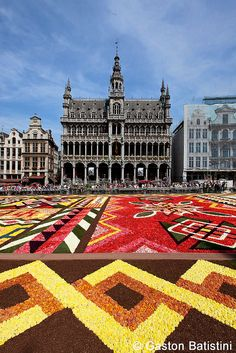 The Carpet of Flowers in the Grand Place, Brussels, Belgium.
