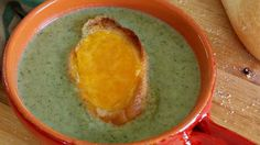 Chef John's classic recipe for broccoli soup highlights the flavor of fresh broccoli and is topped with Cheddar cheese croutons.
