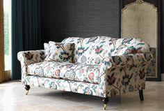 Hinton sofa in Sanderson Roslyn, teal-cherry
