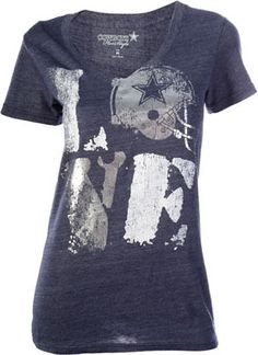 Dallas Cowboys Women's Navy Avilla Tri-Blend V-Neck T-Shirt