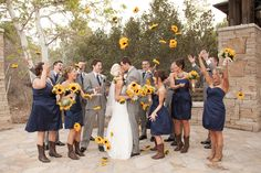 Rustic, Navy, Yellow Sunflower Wedding | www.beccarillo.com
