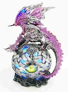 Legendary Purple Midnight Dragon Protecting LED Sphere Ball Figurine Sculpture offered by istatue on eBay