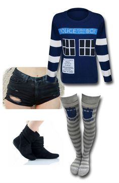LADIES NIGHT OUT: Doctor Who outfit by Mary Huth Socks: http://www.superherostuff.com/dr.-who/socks/dr.-who-ladies-over-the-knee-rugby-socks.html?itemcd=footdrwholadiesrugbyotk&utm_source=pinterest&utm_medium=social&utm_campaign=featuredoutfit Booties: http://www.polyvore.com/black_suede_slouch_bootie_designer/thing?id=24010943 Shorts: http://www.urbanoutfitters.com/urban/catalog/productdetail.jsp?id=24047987a