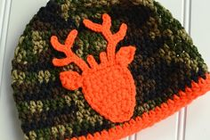 Crochet Baby Camouflage And Hunter Orange Deer Hat/ Newborn Photography Prop/Toddler Camouflage Beanie/Baby Hunting Hat/ Toddler Hunting Hat by BrookeDanielsCo on Etsy