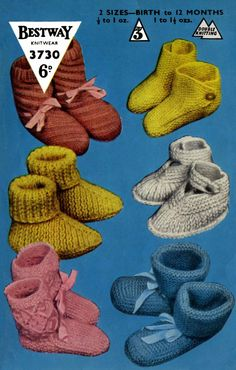 Vintage Baby's Bootees and Shoes 6 Styles, Knitting Pattern, 1960 (PDF) Pattern,Bestway 3730 by LittleJohn2003 on Etsy
