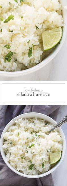 Low Fodmap Cilantro Lime Rice is the perfect base for a burrito bowl, stir fry or curry. Gluten free, vegan and vegetarian