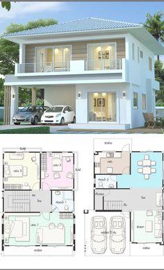 2 Storey House Design, Small House Design, Modern House Design, Model House Plan, House Plans, House Construction Plan, Home Design Plans, House Layouts, Beautiful Homes