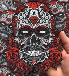 Debonair Sugar Skull Large Back Patch by Seventh.Ink