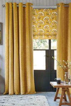 Honey Soft Velour Eyelet Curtains