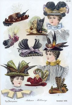 Hats Fashion Plate - The Delineator, November 1896.