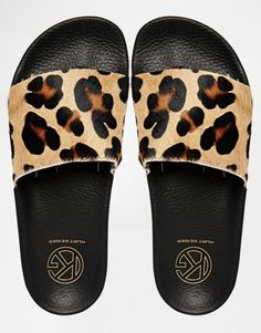 KG Kurt Geiger | KG By Kurt Geiger Leopard Print Slider Flat Sandals at ASOS