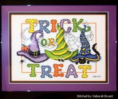 free halloween cross stitch patterns online | cross stitch pattern Witches Hats 3