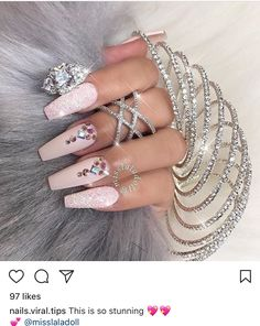 Pastel coffin nails with bling