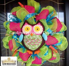 Lime and Pink Owl Wreath by lilmaddydesigns on Etsy, $95.00