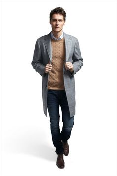 Wool-and-cashmere coat ($2,295) by Canali; cashmere sweater ($298) by J. Crew; cotton shirt ($325) by Ermenegildo Zegna; cotton jeans ($192) by J Brand; leather shoes ($360)by Grenson.   Total $3,470