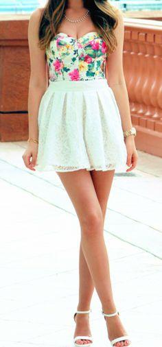 Floral Bustier + White Lace