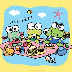 Sanrio ♡ Keroppi is celebrating by enjoying his favorite rice balls with his friends, Keroleen and Ganta.