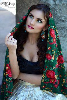 ♥ FRIDA ♥ - model / actress: Kristína Mečko - makeup: Katarína Kondákorová Make-up - earrings: CHAROIT - skirt of golden luxury brocade and shawl is a sewing workshop: LUXURY Day - handmade Shibori, Shawl, Make Up, Wonder Woman, Urban, Actresses, Superhero, Sewing, Skirts