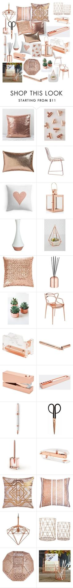"""Copper finishes"" by caitlin1d23-07-10 ❤️ liked on Polyvore featuring interior, interiors, interior design, home, home decor, interior decorating, Urban Outfitters, CB2, Zuo and Pillow Decor"