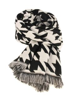 Monochrome Houndstooth Woolen Scarf With Raw Edge #style #accessories #scarf