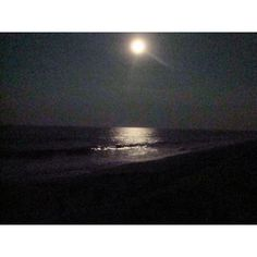 A night sky with the moon shining on the OBX ocean. ❤ liked on Polyvore featuring pictures, backgrounds, nature and water