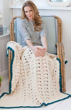 Red Heart® Soft™ Weekend Throw #crochet #pattern