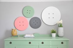 Button Wall Art--wood circles, paint, drill holes