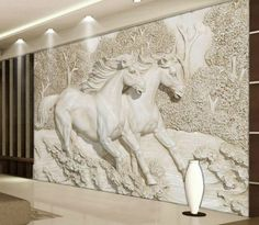 Decorative Wallpaper for Walls Living Room Stereo Relief White Horse Wallpaper Murals Wall Paper Home Improvement Decorative Wallpaper for Walls Horse Wallpaper, Wallpaper Decor, Custom Wallpaper, Photo Wallpaper, Temporary Wallpaper, Living Room Murals, Bedroom Murals, Living Rooms, Bedroom Tv