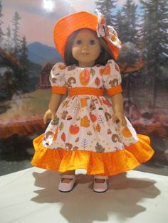 "Autumn Fun Ensemble fits Kit, Molly, Emily,  etc. 18"" American Girl Doll Clothes #Handmade #DollClothes"