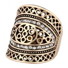 Rhinestone Hollow Out Geometry Ring