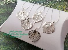 Real Leaf Jewelry, Aspen Leaves, Five (5)   piece Bridal Wedding Set, Sterling Silver Dipped