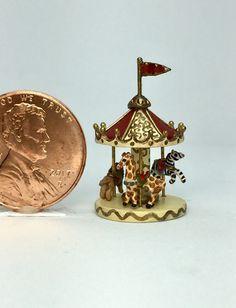 OOAK Miniature Dollhouse Carousel Victorian Nursery Micro Artisan Holly Allen   eBay