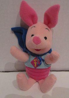"""SOLD! Disney Plush Super Piglet Stuffed Halloween Blue Cape Winnie Pooh 7"""" SMALL 1998 #Mattel"""