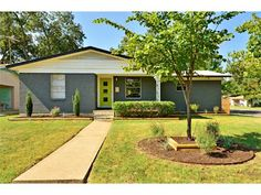 mid century modern exterior paint colors | It's a single story ranch with a similar mid-century modern color ...