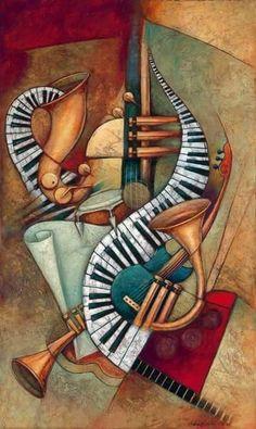Music Painting, Music Artwork, Fabric Painting, Art Music, Cubist Paintings, Cubism Art, Pink Floyd Art, Jazz Art, Music Drawings