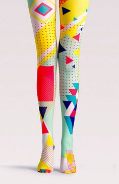 geometric pattern neon color block pop art tights