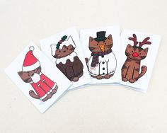 8 Christmas Costume Cat Mini-Cards Doodlecats on Etsy