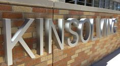 Capital Architectural Signs: Lit Fabricated Channel LEtters, UT Kinsolving Dining Hall, Architectural Sign, Exterior Signage, Monument Sign