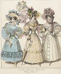 Walking dresses, England, August 1829