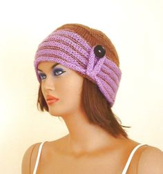 Striped knitting women beret hat with a black by KnitterPrincess, $38.00
