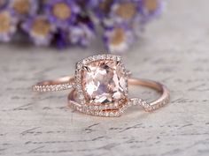 $975 Yridesign -pt 1 -- Rose Gold Morganite engagement ring,14K Rose gold wedding set 14/18k white/yellow/rose gold available. Diamonds can be upgraded. Ring setting can be made. Ring can be resized. 30-Day Money Back guarantee.Customer Office in USA. Free Shipping to US. I am personally here for you to help you out with anything you need.  [item detail] Solid 14K Rose Gold(Can be made in white/yellow/rose gold) 9mm Cushion Cut VS Morganite Round Cut Natural Diamonds Tot