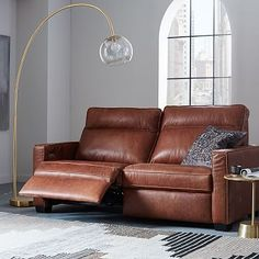 Henry® Leather Power Recliner Sofa - Tobacco #westelm Wish this was a no cord recliner.