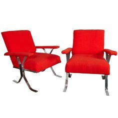 mid century pair of steel and wood lounge chairs | From a unique collection of antique and modern lounge chairs at http://www.1stdibs.com/furniture/seating/lounge-chairs/