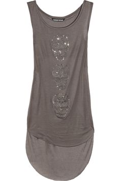 THOMAS WYLDE Hear No Evil crystal-embellished satin-jersey tank