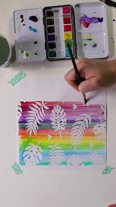 Watercolor on resist pad Watercolor Circles, Watercolor Paintings, Watercolour, Doodle Art Drawing, Art Drawings, Painting For Kids, Art For Kids, Rock Painting, Homemade Watercolors