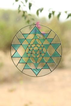 Sacred geometry suncatcher Yri Yantra stained glass by Mownart