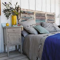 Bedroom: Rustic Bedroom Design With Unique Homemade Headboards Plus Nightstand And Wooden Floor Shabby Chic Headboard, Window Headboard, Shabby Chic Bedrooms, Shabby Chic Homes, Beach Headboard, Queen Headboard, Stylish Bedroom, Shutter Headboards, Headboards For Beds